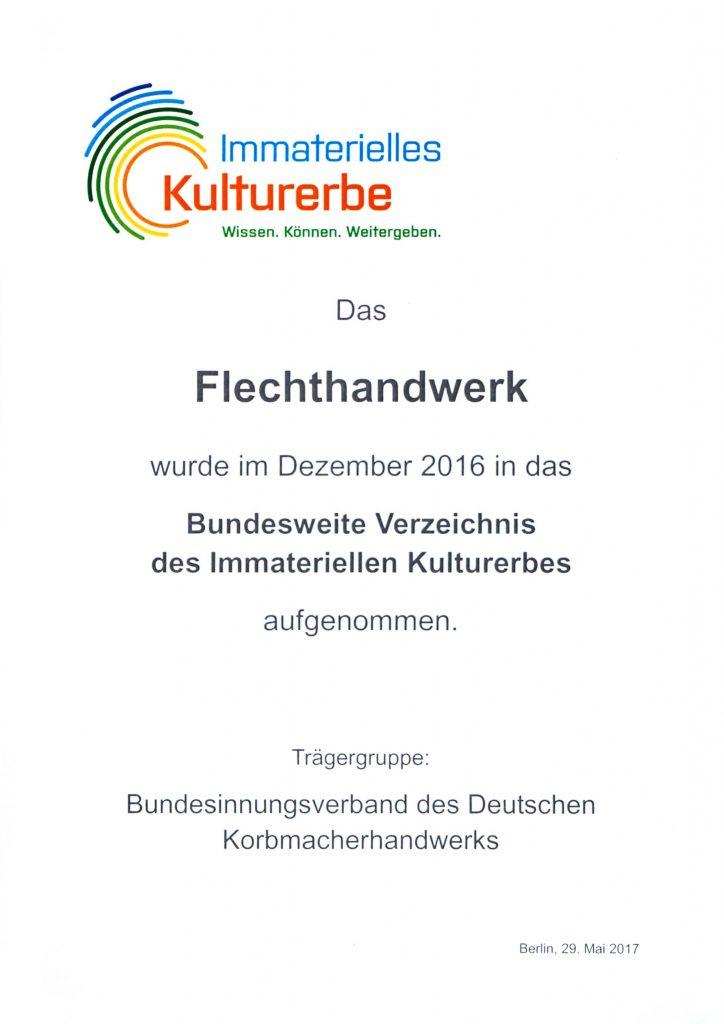 Bundesweite Urkunde Immaterielles Kulturerbe